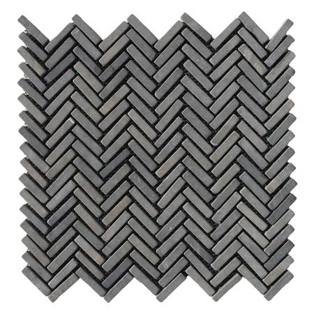 Black Chevron Stone Mosaic Tile
