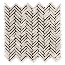 Cream Chevron Stone Mosaic Tile