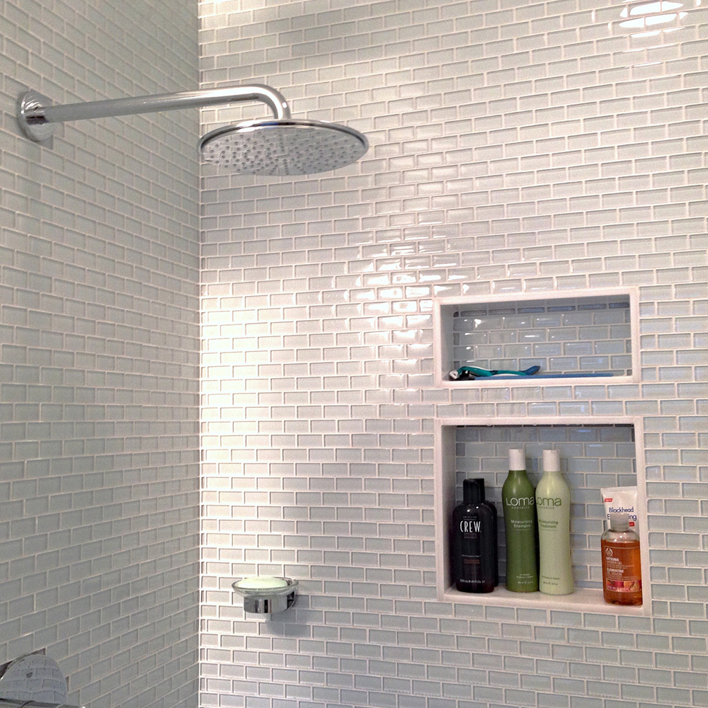 - White 1x2 Mini Glass Subway Tile - Pebble Tile USA