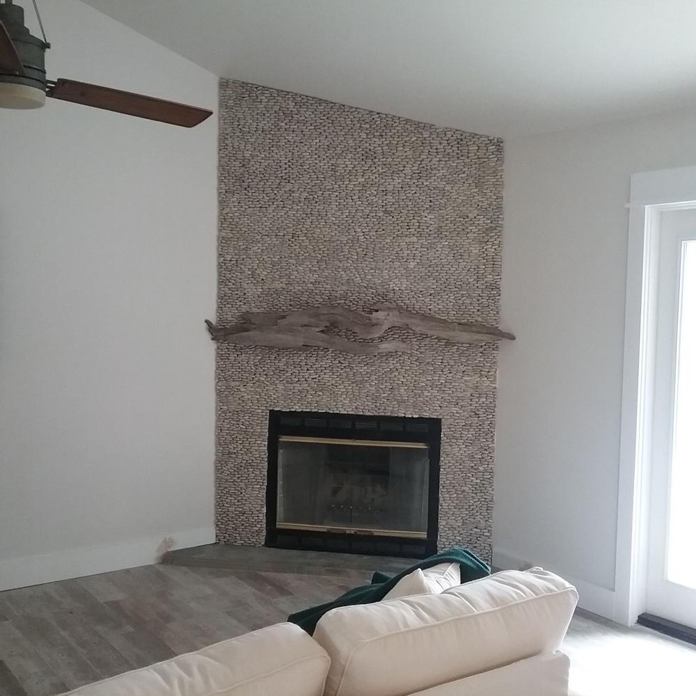Tan Pebble Tile Fireplace And Hearth Tilehub