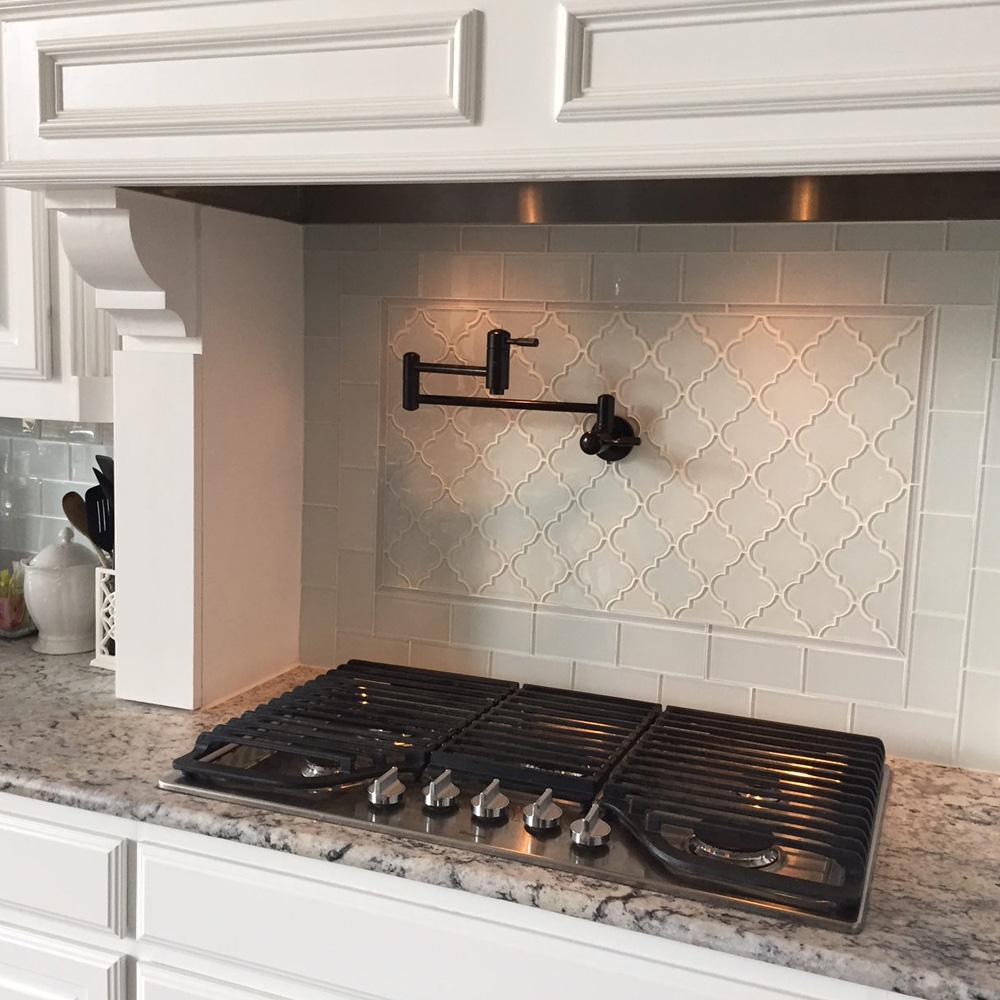 Backyard Gas Fire Pit Ideas, White Arabesque Glass Tile Pebble Tile Shop