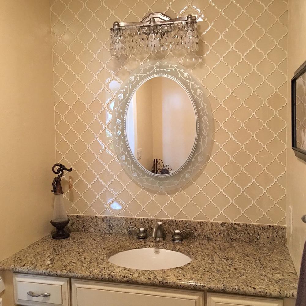 - Cream Arabesque Glass Tile - Pebble Tile Shop