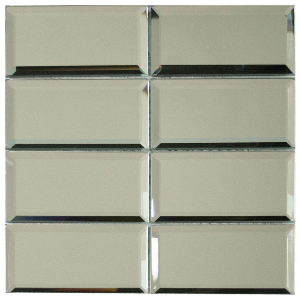 quality beveled subway tile   Beveled Mirror Glass Subway Tile - Subway Tile Outlet