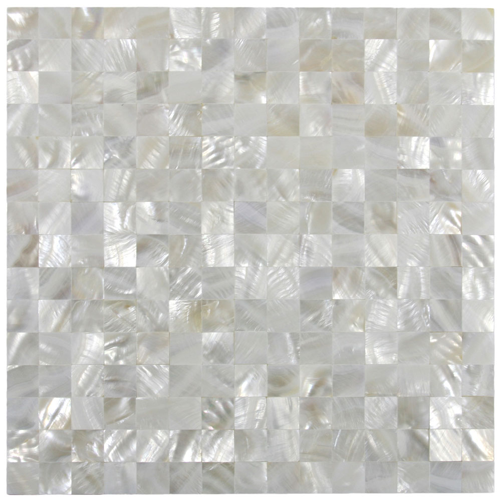 Shell Tile Bathroom Vanity Backsplash