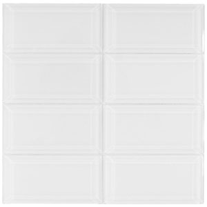 Beveled White Glass Subway Tile