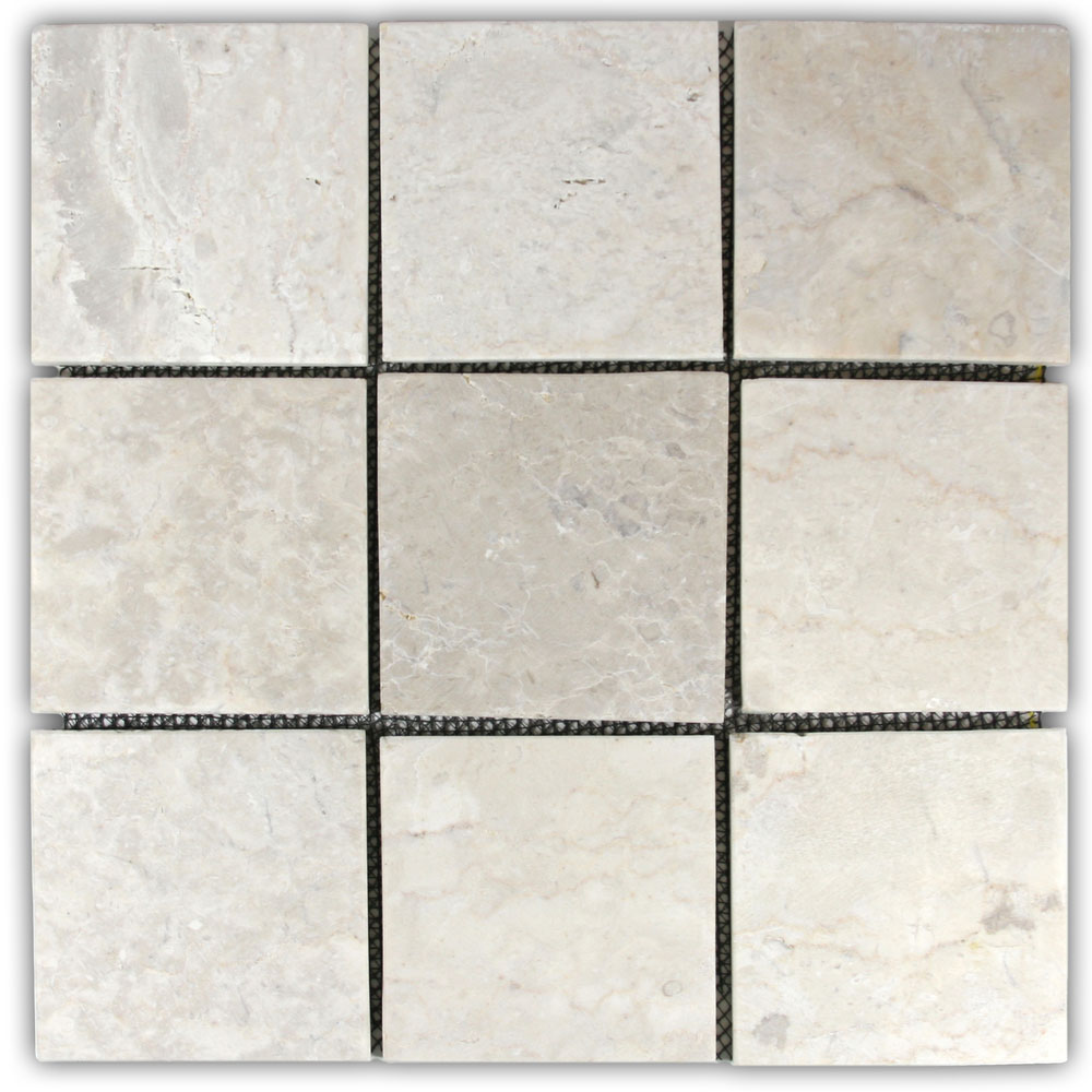 "Cream 4"" x 4"" Stone Mosaic Tile"