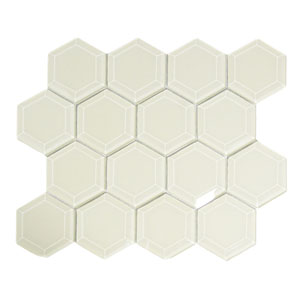 Cream Hexagon Beveled Glass Tile