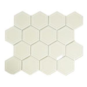 Cream Hexagon Beveled Glass Tile