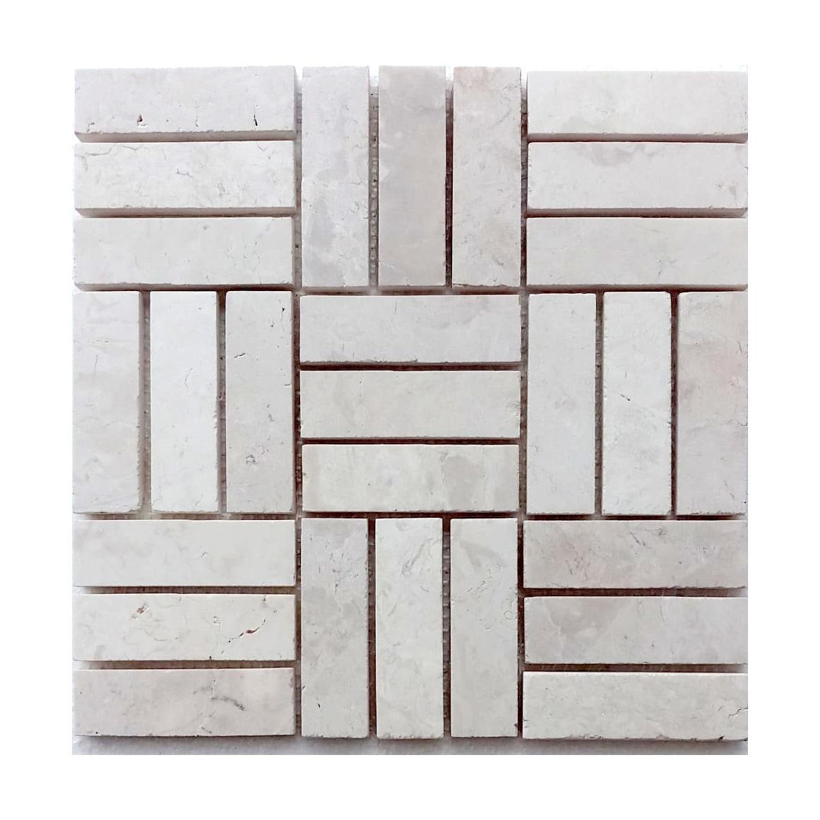 Cream Weave Stone Mosaic Tile