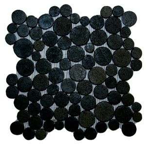 Glazed Black Moon Mosaic Tile