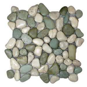 Glazed Sea Green and White Pebble Tile