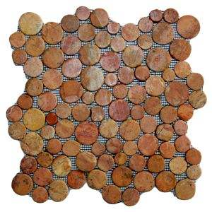 Glazed Red Moon Mosaic Tile