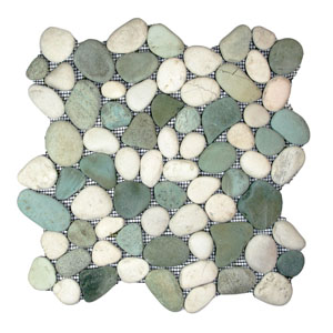 Sea Green and White Pebble Tile