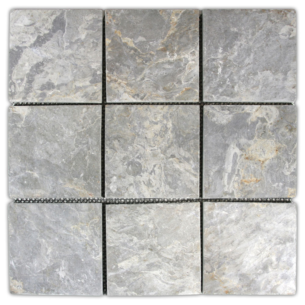 "Light Grey 4"" x 4"" Stone Mosaic Tile"