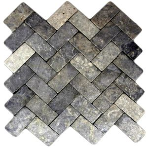 Light Grey Herringbone Stone Mosaic Tile
