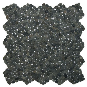 Mini Charcoal Black Pebble Tile
