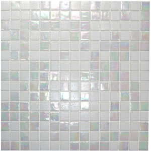 Mixed Cloud White Glimmer Glass Tile