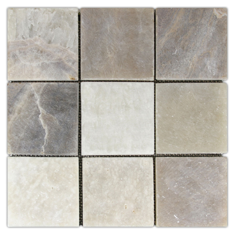 "Mixed Quartz 4"" x 4"" Stone Mosaic Tile"