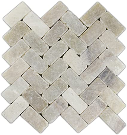 Mixed Quartz Herringbone Stone Mosaic Tile