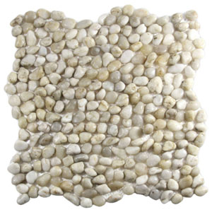 Mini Polished White Pebble Tile