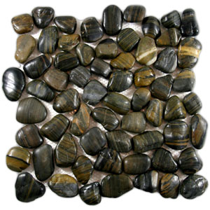 Polished Tiger Eye Pebble Tile