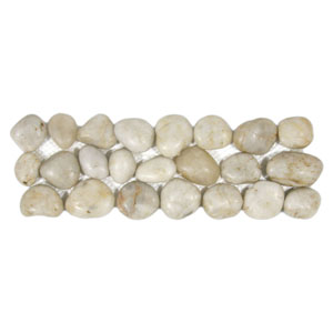 Polished White Pebble Tile Border