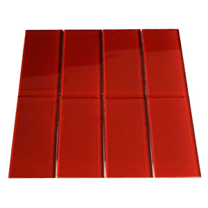 Red Glass Subway Tile