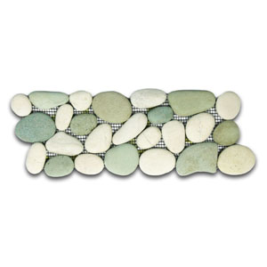 Sea Green and White Pebble Tile Border