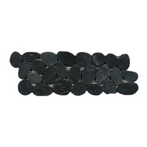 Sliced Charcoal Black Pebble Tile Border