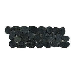 Sliced Charcoal Black Pebble Tile Border