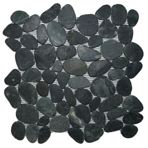 Sliced Charcoal Black Pebble Tile