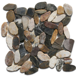 Sliced Cobblestone Pebble Tile