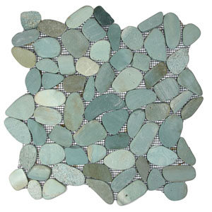 Sliced Sea Green Pebble Tile