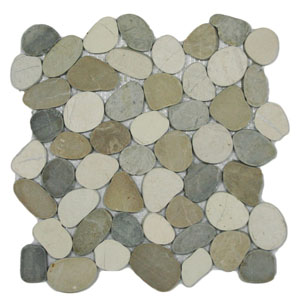 Sliced Mixed White Tan and Grey Pebble Tile