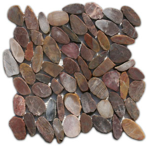 Sliced Red Pebble Tile
