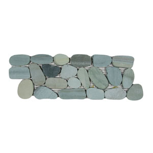 Sliced Sea Green Pebble Tile Border