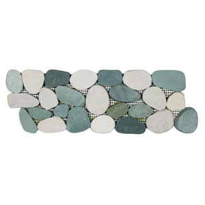Sliced Sea Green and White Pebble Tile Border