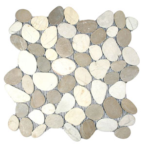 Sliced Java Tan and White Pebble Tile
