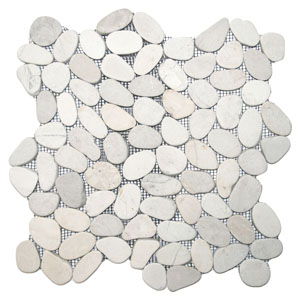 Sliced White Pebble Tile