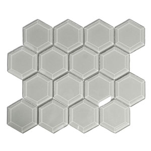 Smoke Hexagon Beveled Glass Tile