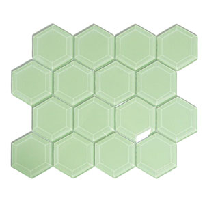 Surf Hexagon Beveled Glass Tile