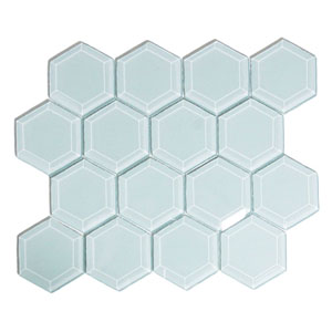 Vapor Hexagon Beveled Glass Tile
