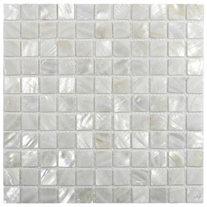 "White 1"" x 1"" Pearl Shell Tile"