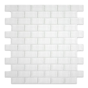 White 1x2 Mini Glass Subway Tile