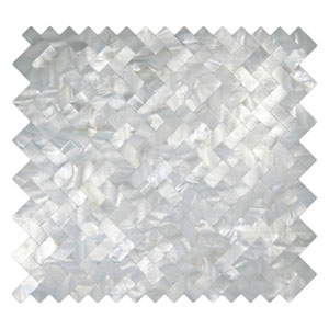 White Groutless Herringbone Pearl Tile