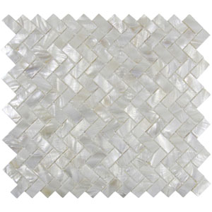 White Herringbone Pearl Shell Tile