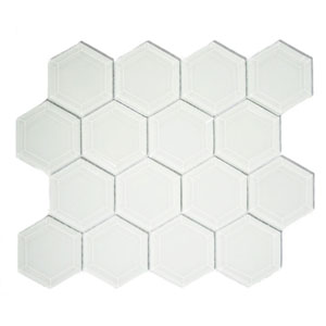 White Hexagon Beveled Glass Tile