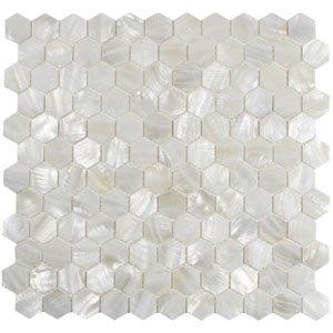 White Hexagon Pearl Shell Tile