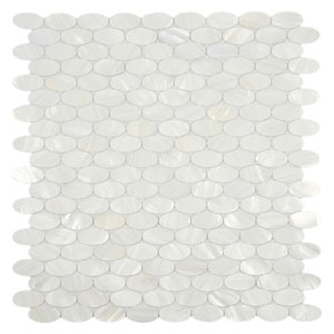 White Oval Pearl Shell Tile