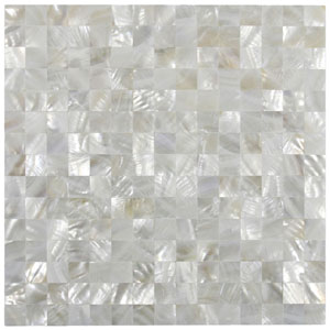 White Square Groutless Pearl Shell Tile